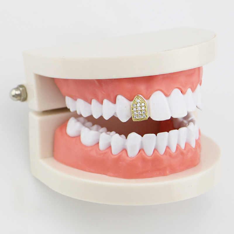 Usine bas prix dent Cap or couleur dents Grillz glacé CZ Out dent Grills hip-hop Cool accessoires hommes femmes corps bijoux