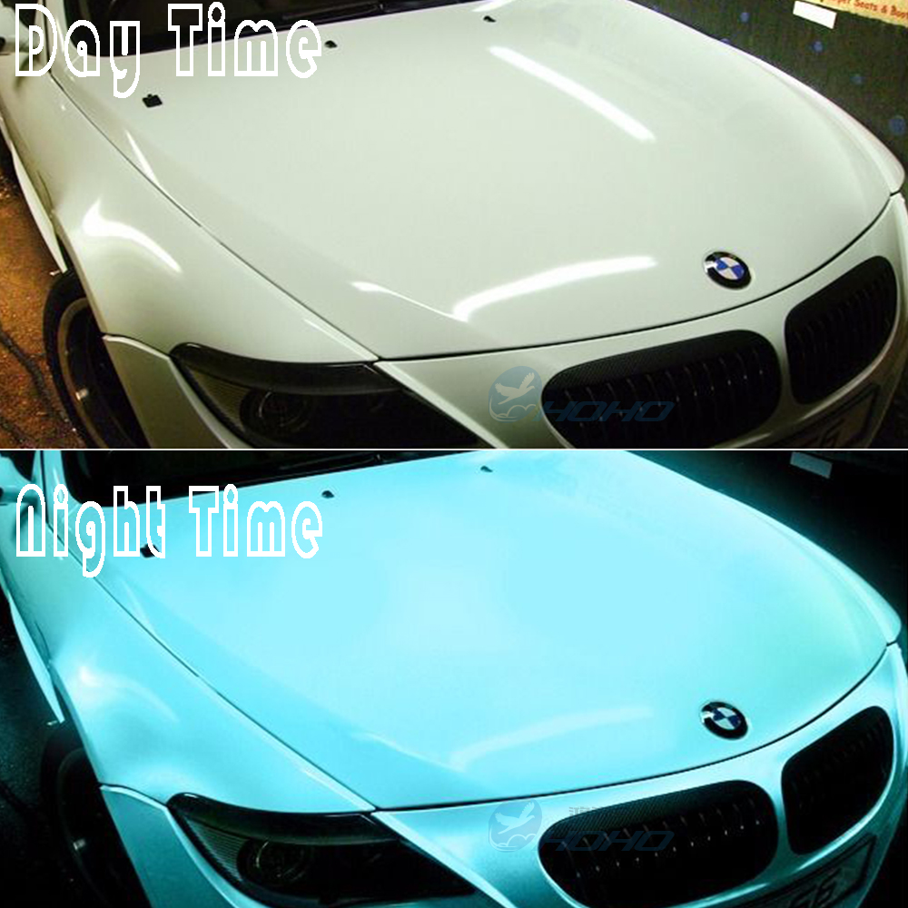 60x20/1.52x0.5m Car Styling Luminous Glow in the dark Green/Blue Car Wrap Vinyl with Air ...