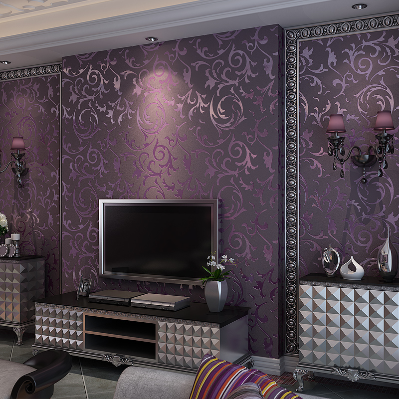 purple bedroom living background tv luxury 3d non modern wall paper woven dimensional thick european three wallpapers papel zoom parede