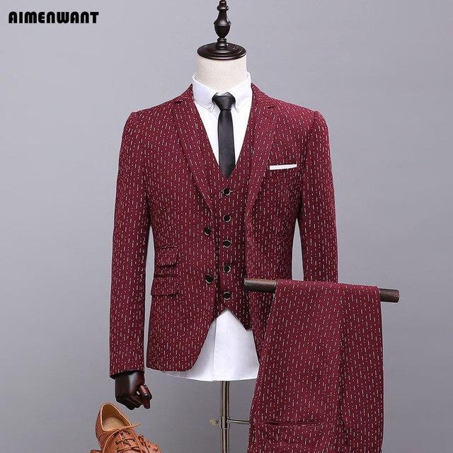 AIMENWANT Custom Made Blazer Korea Mens Wine Red Nice Suits Jacket ...