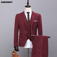 AIMENWANT Custom Made Blazer Korea Mens Wine Red Nice Suits Jacket+Vest+Pants 3 Piece Stylish Boys Party Suit Wedding Clothes