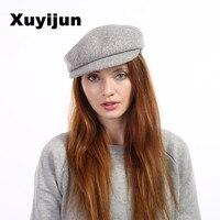 Xuyijun New Solid Color Ancient Woolen Octagonal Bent Cap Bennet Artist Hat Men Male Hats For Women Woolen berets hat bone