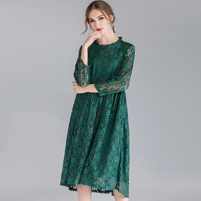 Nero 2019 Nero rosa Abiti Di Delle Lace Pizzo Size Allentato Plus Donne  verde Stampa colore Vestito Fiocco Eleganti ... 8adf8b52a5b