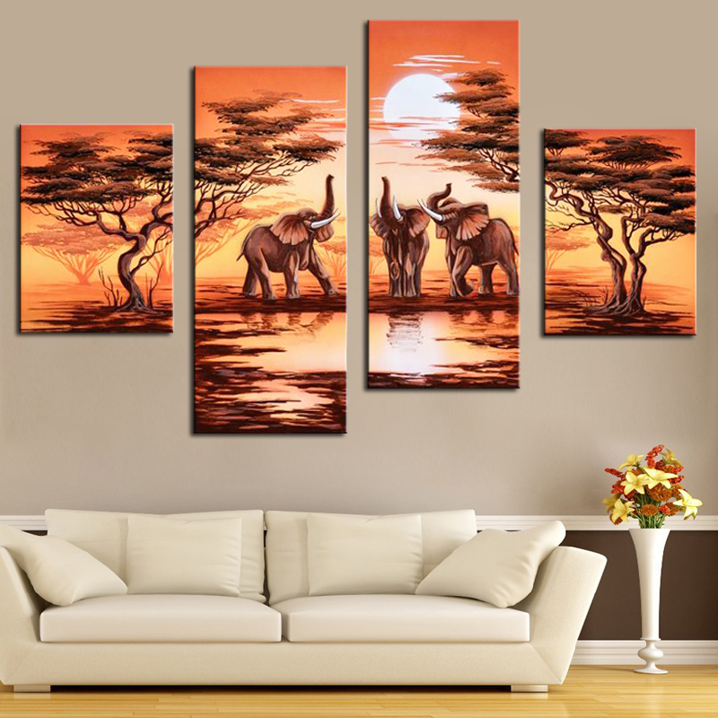 4 Panel Hand Painted Canvas Oil Painting African Safari Modern Landscape Painting Elephant Forest Scenery Wall Pictures No Frame