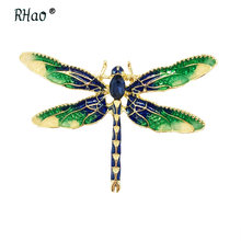 RHao New Enamel Green Yellow Dragonfly Insects Brooches For Women Men suit corsage girls clips Banquet Weddings Brooch Pins Gift(China)
