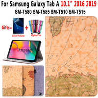 Case for Samsung Galaxy Tab A 10.1 2019 Cover Case T580 T585 T510 T515 SM-T580 SM-T510 World Map Flip Leather Funda + Pen+ Film