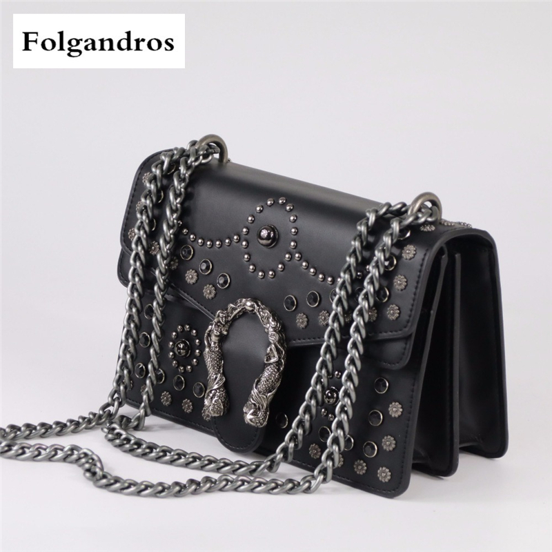 Luxury Fashion Rivet Chain Casual Shoulder Bag Messenger Bag Retro Women Leather Bag\Handbag Lady Big Black Tote Motorcycle Bags fashionable big lip shaped pu rivet shoulder bag messenger bag for women black golden