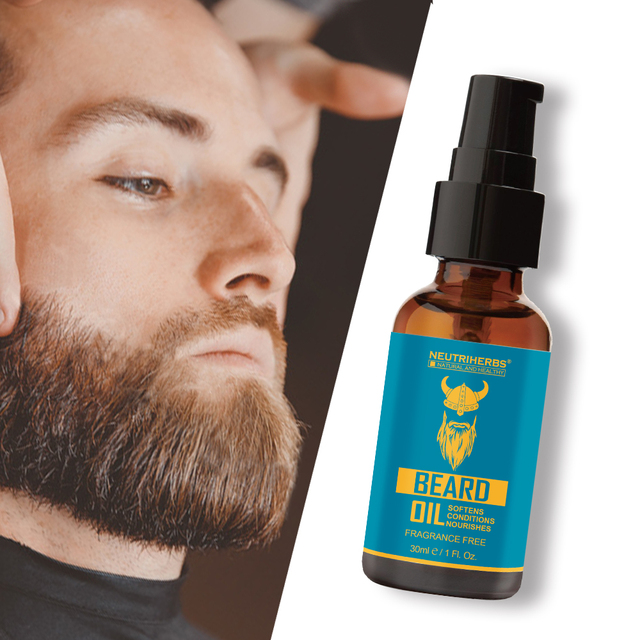 NEUTRIHERBS Beard Oil for Beard Growth Pure Natural Plant Extract Beard Balm Aftershave Softens Nourishes Fragrance Free 30ml/pc 4