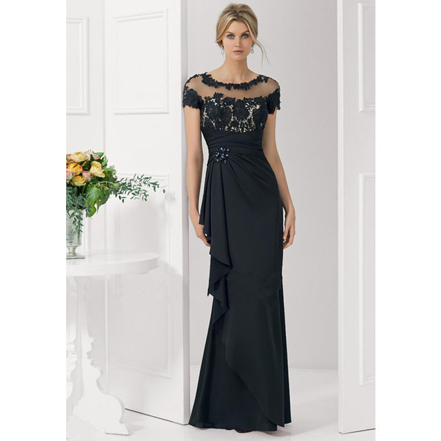 f2a099db0b5d 2016 New Arrival Black Cap Sleeve Chiffon Mother Bride Gown Floor Length  Lace Mermaid Wedding Mother