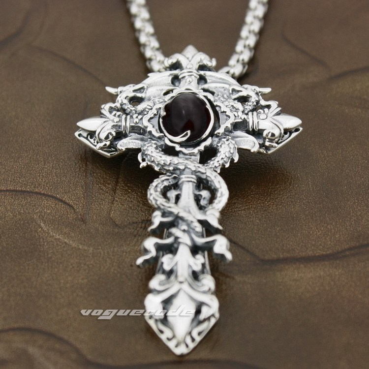 925 Sterling Silver Dragon Twine Cross Sword Black CZ Mens Biker Pendant 8X002(Necklace 24inch) цены онлайн