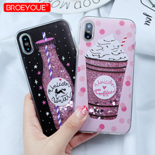 Glitter Liquid Case for iPhone 8 Plus Bling Quicksand Unicorn Sequins For X SE 5 5S 6 6S 7 Soft Cover