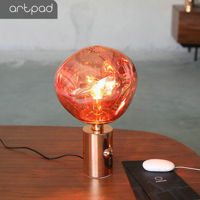 Artpad Post Modern Silver Red Novelty Lava Lamp Bedroom Bedside Decorative Nightlight Glass Lampshade E27 LED Table Stand Light