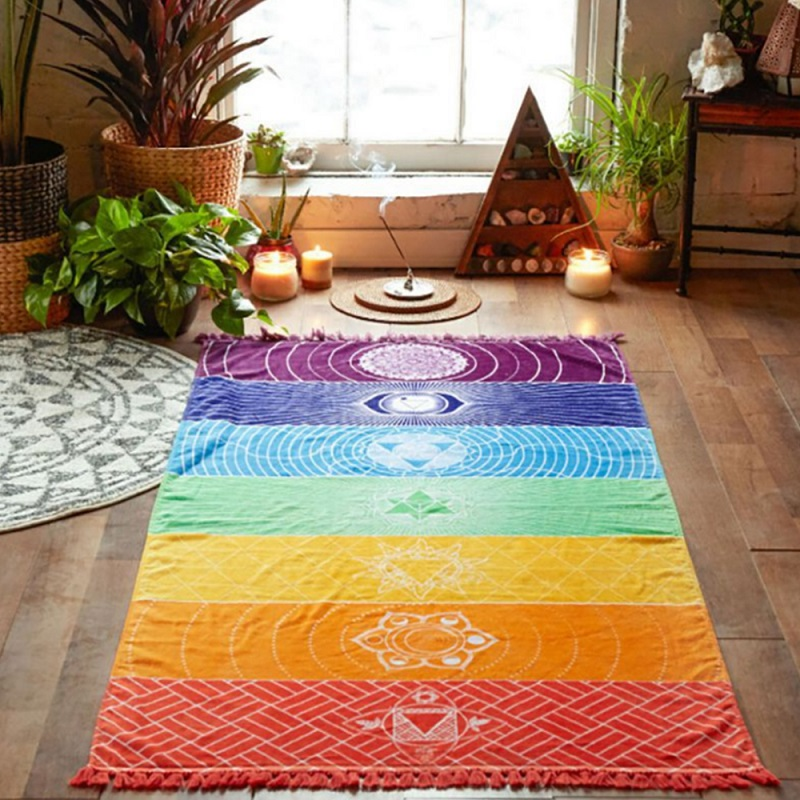 1Pc Rainbow Polyester Fiber Yoga Mat Beach Mat Tapestry Window Curtain Boho Hanging Decorate Economic Convenient Beautiful image