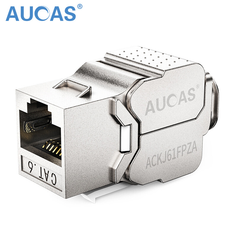 AUCAS 4st 24st Zink Alloy FTP RJ45 Cat6 Keystone Ethernetmodul Sköld cat6 RJ45 Keystone Jack-kontakt rj45 Socket Adapter