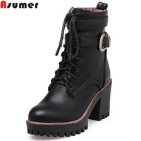Asumer Fashion New Arrive Women Boots Black Wine Boots Brown Zipper Lace Up Buckle Ankle Boots