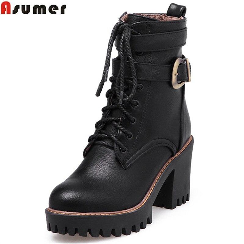 US $25.76 54% OFF|Asumer 2020 NIEUWE vrouwen laarzen zwarte wijn rode rits lace up gesp enkellaarsjes vierkante hoge hakken herfst winter schoen