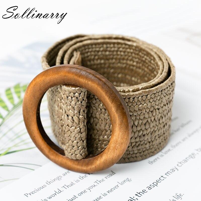 Sollinarry Casual  Elastic Straw Belt Decoration Wooden Button Belt Women Waist For Dress Belt Fashion Female Belt Accessories