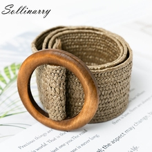 Sollinarry Casual  Elastic Straw Belt Decoration Wooden Button Women waist for Dress Fashion Female Accessories
