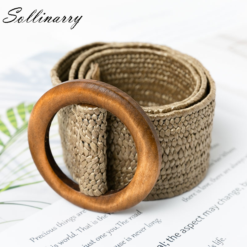 Sollinarry Casual Elastic Straw   Belt   Decoration Wooden Button   Belt   Women waist for Dress   Belt   Fashion Female   Belt   Accessories