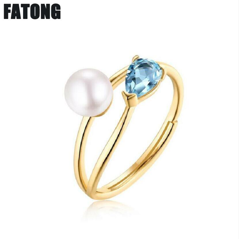925 sterling silver Europe and America simple and generous natural freshwater pearl sky blue topaz adjustable ring female J0435925 sterling silver Europe and America simple and generous natural freshwater pearl sky blue topaz adjustable ring female J0435