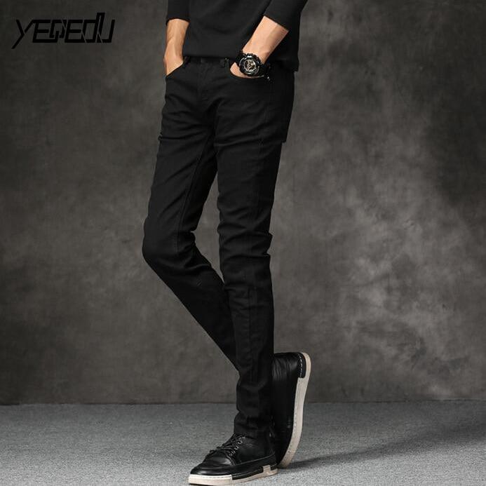 #1472 Spring summer 2018 Black pencil jeans homme Fashion Slim fit Skinny jeans for men Korean Baqueros hombre Black jeans men