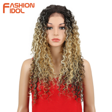 FASHION IDOL Kinky Curly Heat Resistant Synthetic Lace Front Wig For African Ame