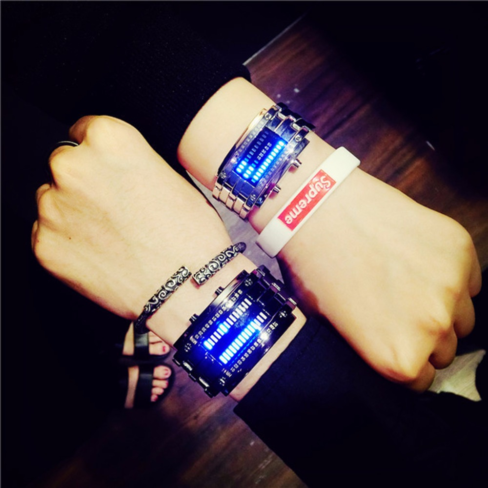 Fashion couple watch Luxury Lovers' Wristwatch Men Women Steel blue Binary Luminous LED Electronic Sport Watches watch men new snake table wholesale fashion jewelry for men and women present binary watch for waterproof led lovers steel band watch