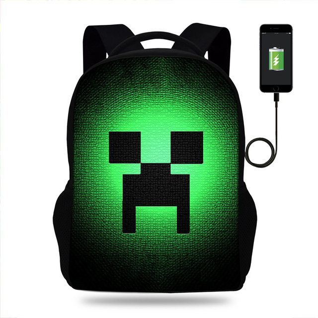 US $26 25 34% OFF|Creeper Minecraft Print Backpack Schoolbag for Girls/Boys  Teenagers Women satchel schoolbag USB Laptop High school bags backpack-in