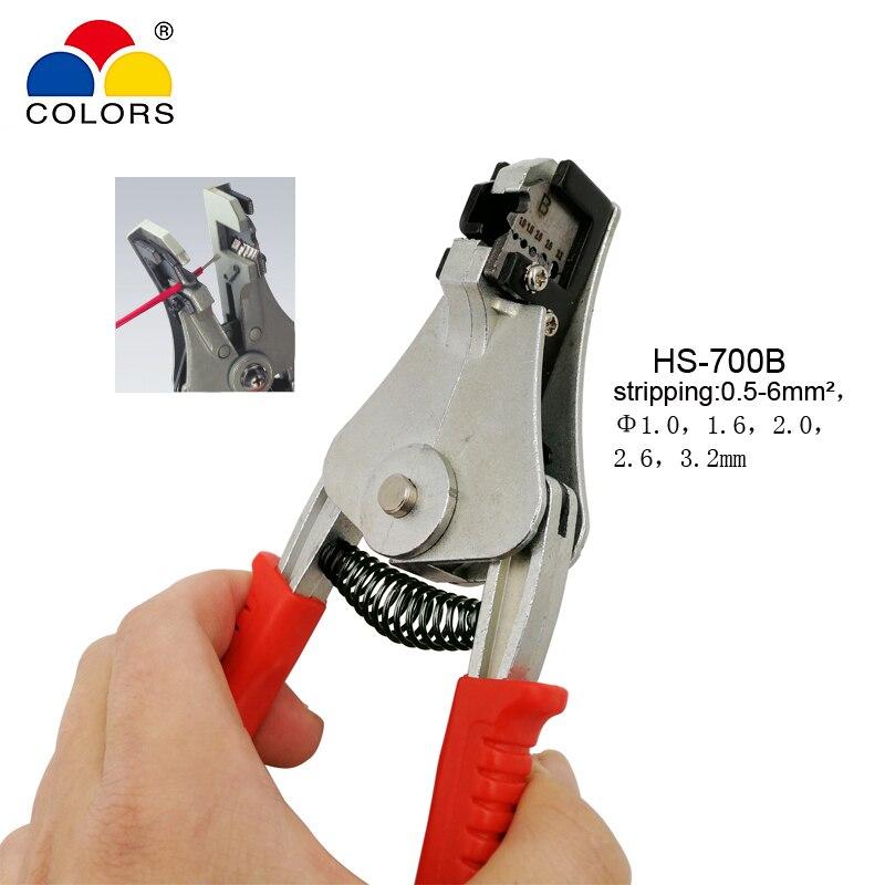 Aktiv Farben Hs-700b Automatische Abisolierzangen Multi-funktion Zangen Cutter Draht Druck Einstellung Frühling Kapazität 0,5-6mm2 Werkzeug GroßEr Ausverkauf Zangen Werkzeuge