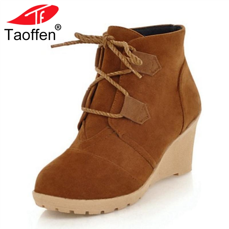 TAOFFEN Women Ankle Boots Winter Wedge Warm Fur Shoes Woman Lace Up Fashion Short Boots Round Toe Ladies Footwear Size 33-43 taoffen women falt half short ankle boots winter botas footwear cross strap round bohemia toe warm boot shoes p19357 size 34 43