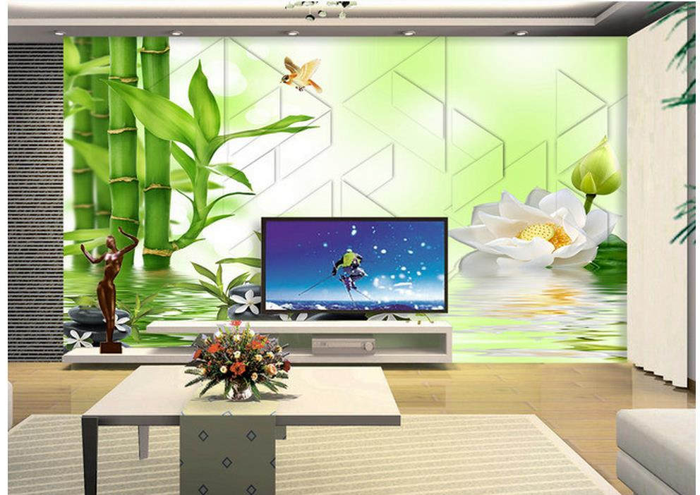 Home Decoration 3d customized wallpaper Bamboo lotus reflection cobblestone 3D TV backdrop 3d room wallpaper