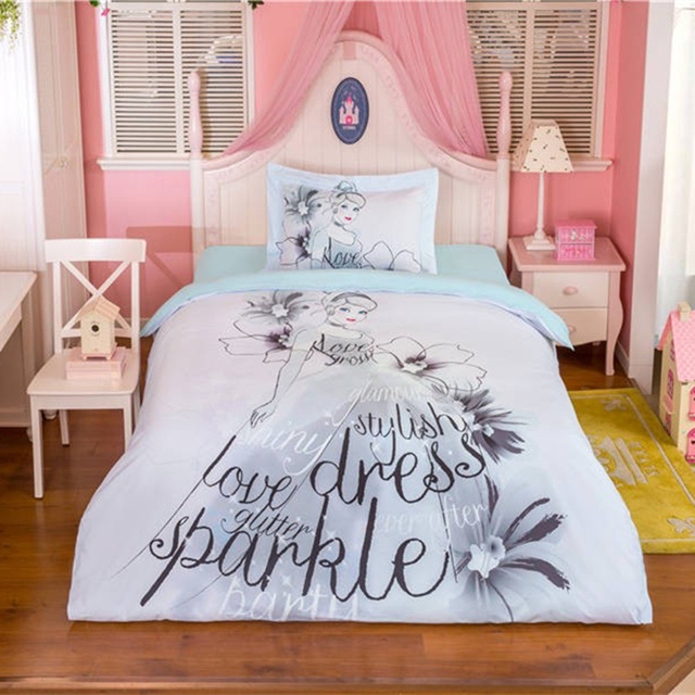 Cartoon Princess 3d Bedding Set Girls Kids Black White Bed Linens