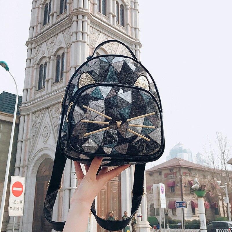 Girls Casual Backpack PU Geometric Design Backpacks Vintage Side Rivets Stud School Bag Lady Women Grey Frosted Leather Ruchsack (5)