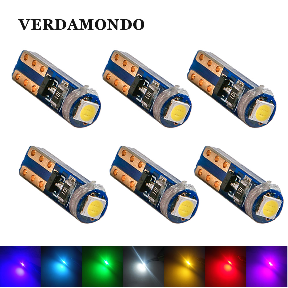 6X Super Bright 3030 SMD Led T5 Car Dashboard Light Gauge Instrument Side Auto Wedge Door Bulb Lamp 12V