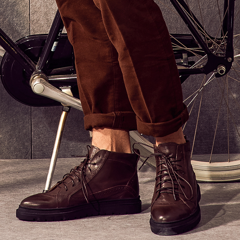 Men's high-top boots leather boots trend British wind wild tooling boots men shoes