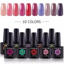 hot deal buy coscelia kit nail gel manicure set nail art kits 10 gel polish varnish primer top and base nail extension set uv gel led nail