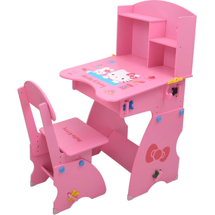 Children study table desk wood can lift students little girl