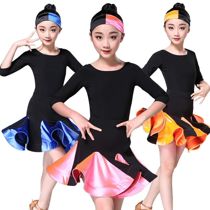 Children Clothes Girl Dance Latin Dress 4 Color Long Short Sleeve Latin Skirt Girls Competition Practice Skirt Children Dress