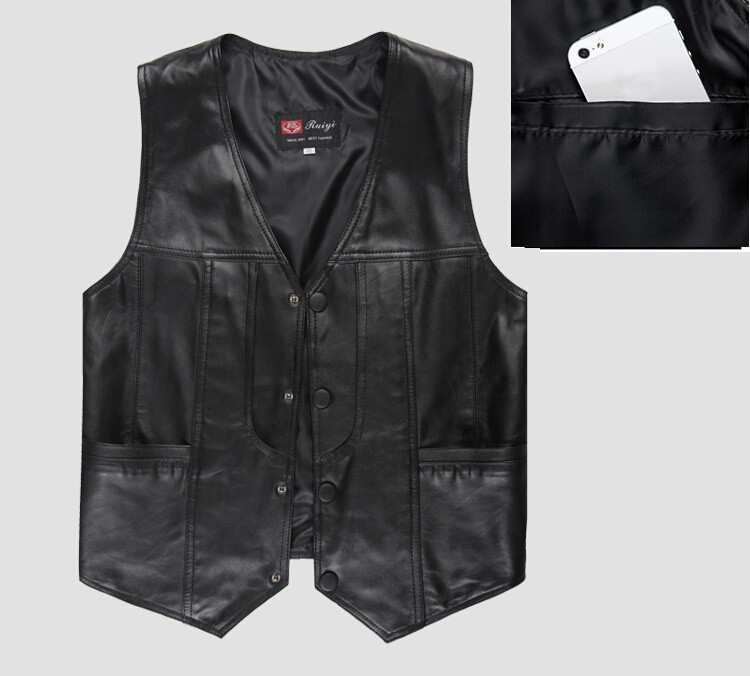 f493ecfc0b659 Mens genuine leather fur motorcycle vest suit Men sheepskin casual ...