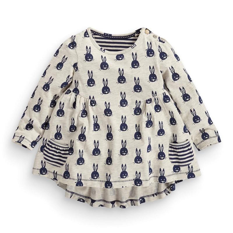 2016 autumn new European style children's clothing girls dress stretch cotton long-sleeved dress child