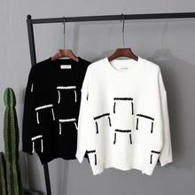 2016 Dongguk door ulzzang hand rope hit color sweater loose thin font b women s b