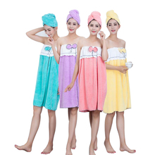 Bath Towel Hair Cap Set Soft Bowknot Quick Dry Bathrobe