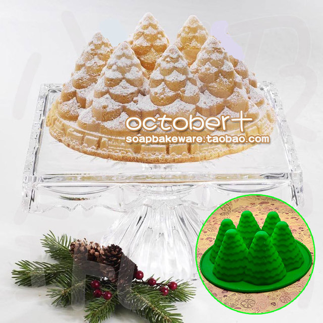 3D Silicone 6 Cavity Tree Mold silicone cake mould christmas holiday tree  bundt pan - 3D Silicone 6 Cavity Tree Mold Silicone Cake Mould Christmas Holiday