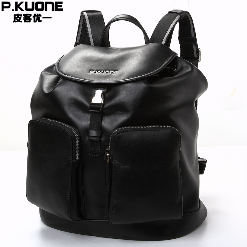 все цены на P.KUONE Genuine Leather 2017 New Fashion Men Luxury Brand Bag Waterproof Laptop Messenger Travel  Backpack For Women School Bags