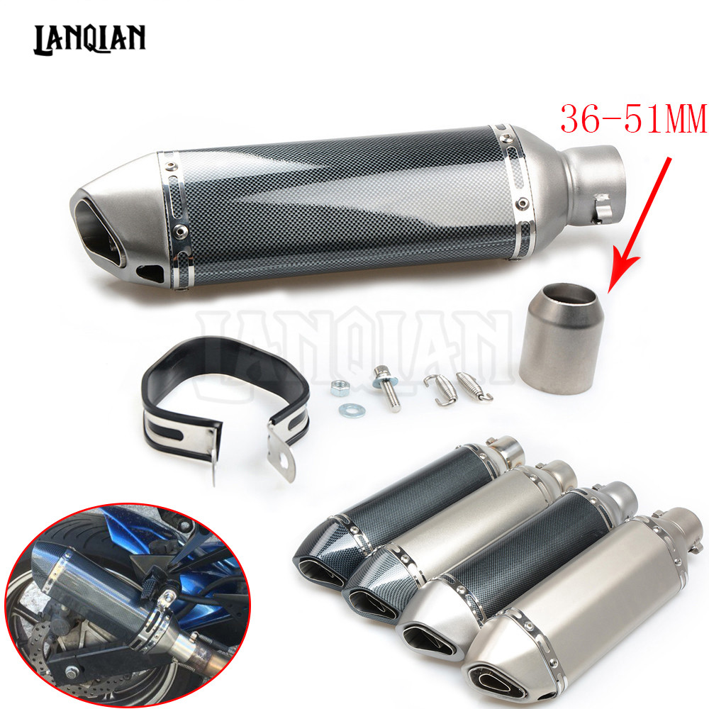 51MM Universal Motorcycle Exhaust Escape Modified Muffle Exhaust Pipe for KAWASAKI ER6N ER-6N 2009 2010 2011 2012 2013 Z800 ER6N 51mm universal motorcycle dirt bike exhaust escape modified scooter sport exhaust muffle fit for z750 z800 er6n r1 gsxr 600 atv