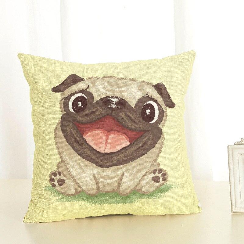 Pug Pillow Cover Cartoon Cute Dog Decoration Throw Pillow Case