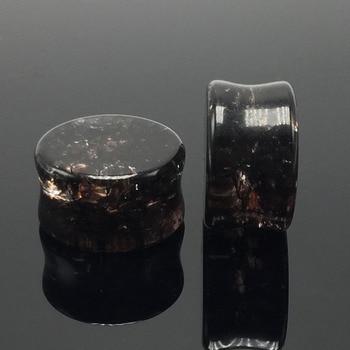 ELEIHENWTA 8mm-16mm par venta blackglass oído túneles de oído medidores joyería del cuerpo dilatación Piercing idiomas Piercing