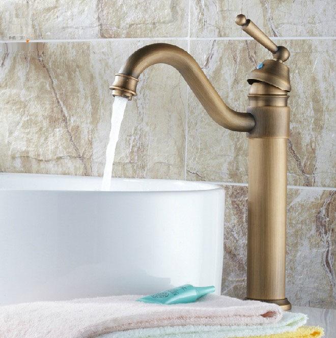 Antique Brass Gooseneck Single Handle Swivel Kitchen Bathroom Sink Basin Faucet Mixer Taps Anf205
