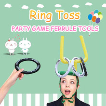 3 Style Kid's Party Cartoon Hats Cute Deer Head/ Bunny Ears/Football Ferrule Toss 4 Rings Game Inflatable Toys Party Decoration(China)