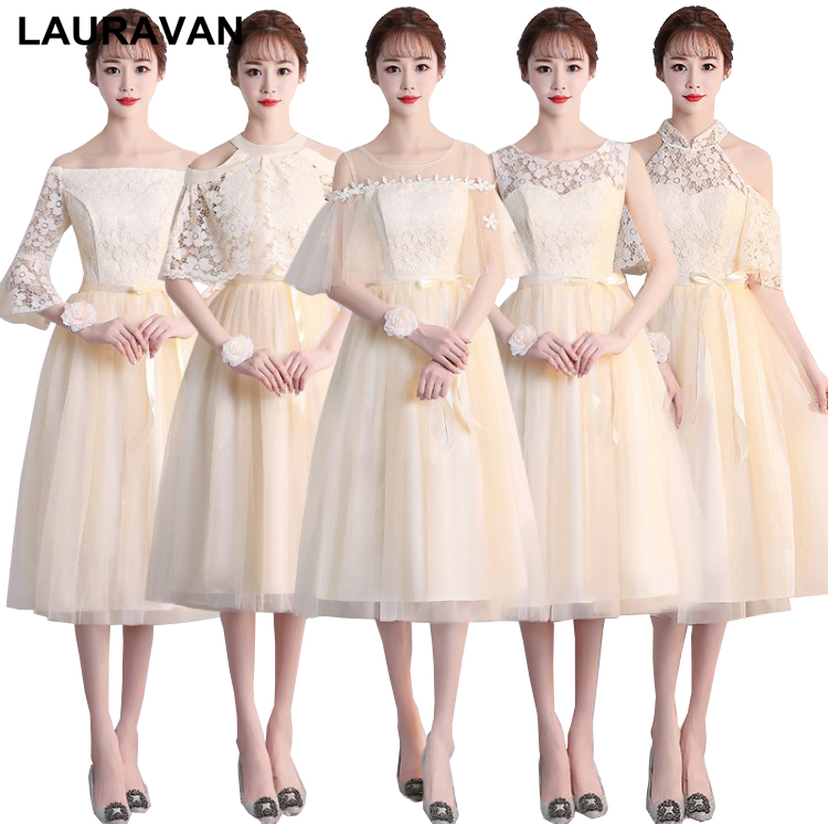special occasion champagne color maids brides modest formal short   bridesmaids     dresses   womens tea length   dress   for wedding guest